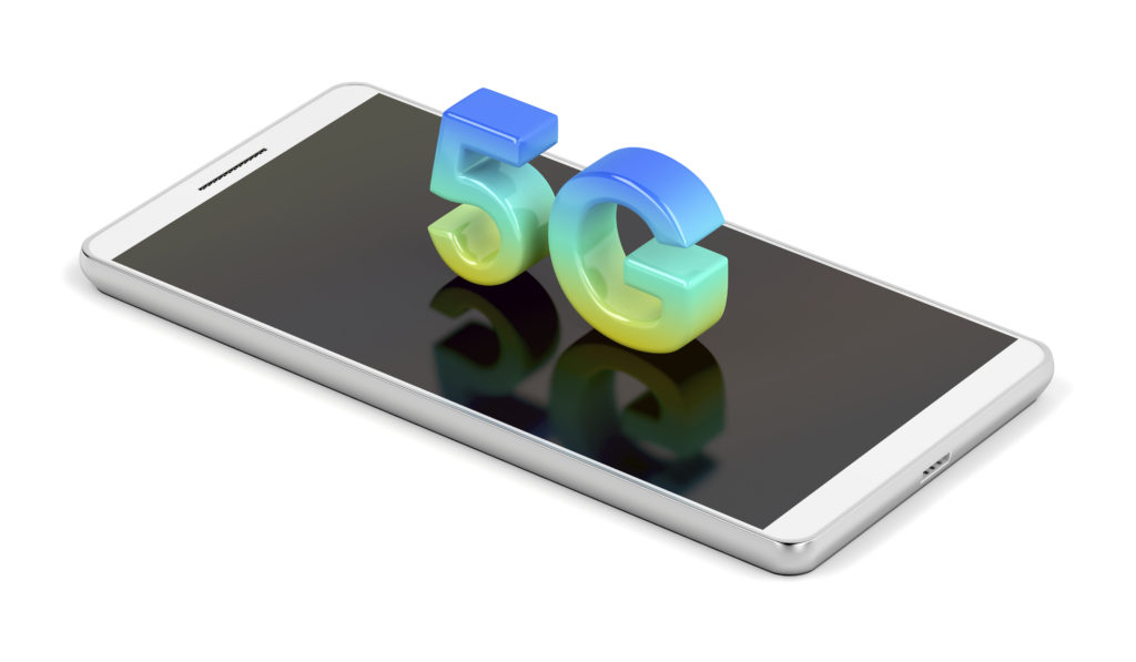 5G smart phone on white