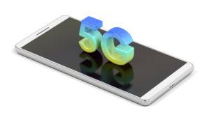 5G smart phone on white