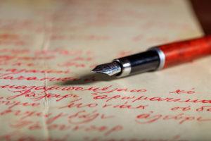 nk pen on a handwritten letter