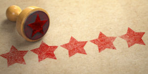 ive stars printed on craft paper with stamp. Rating, best choic