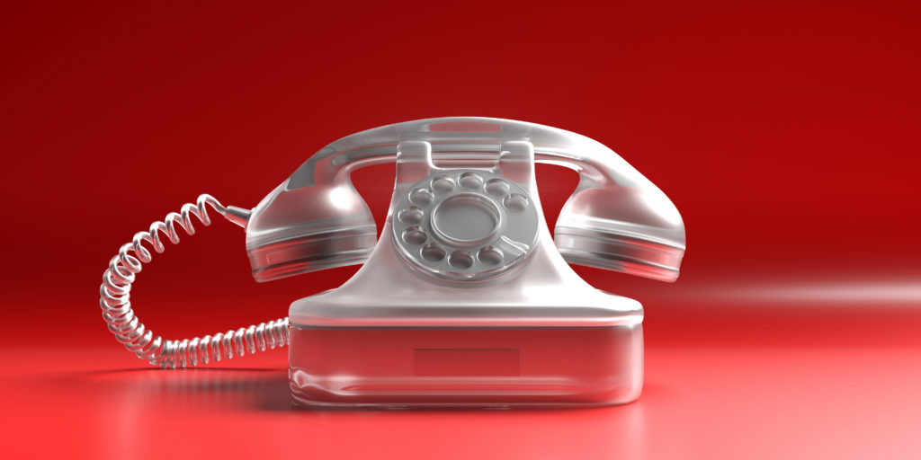Telephone vintage on red background. 3d illustration